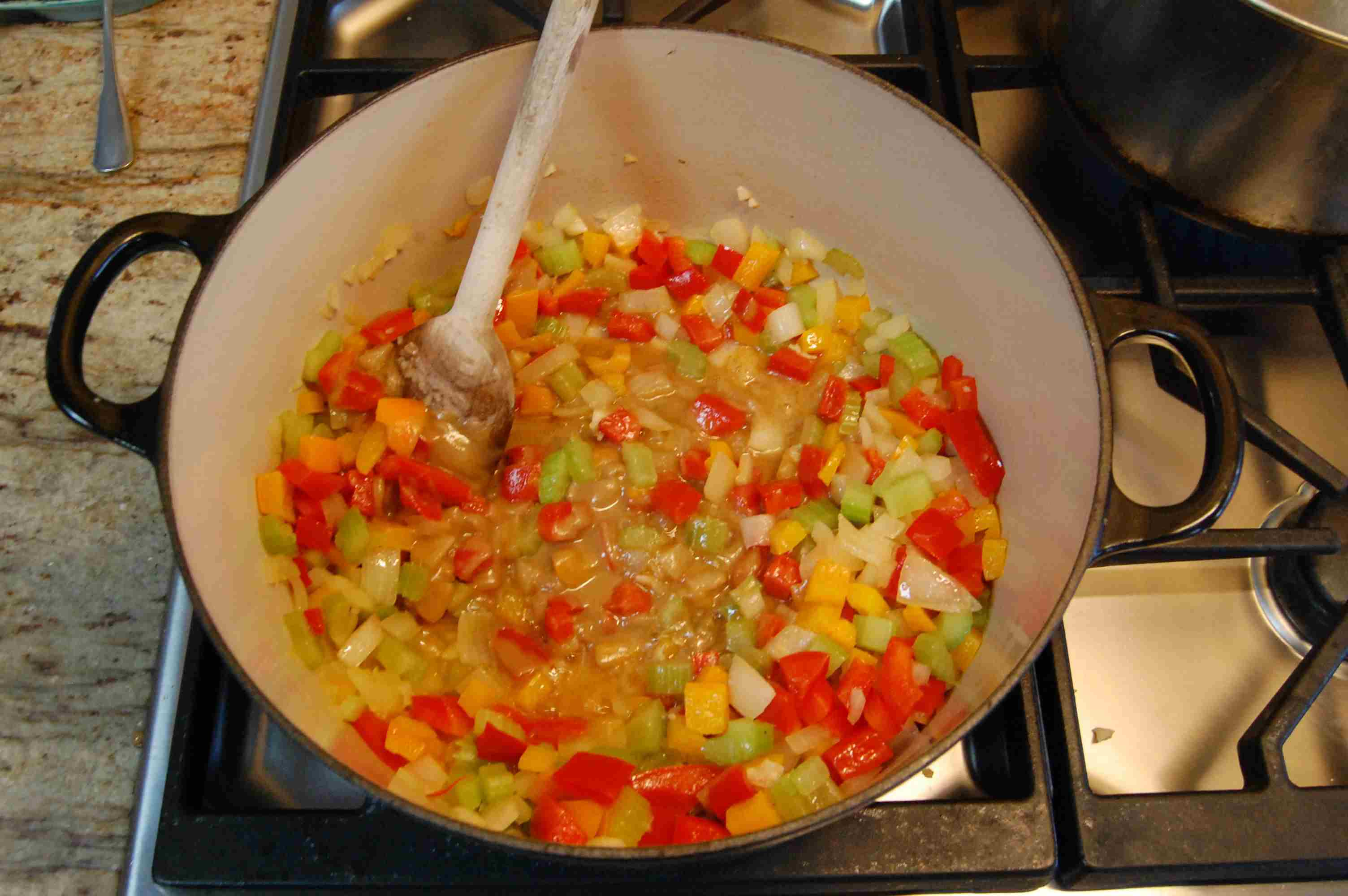 Adding roux to vegetables