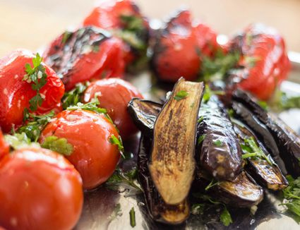 Roasted tomatoes and eggplant