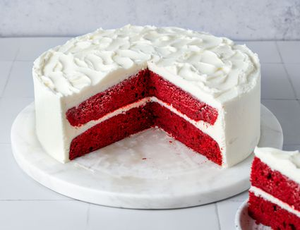 Homemade Red Velvet Cake With Cooked Frosting