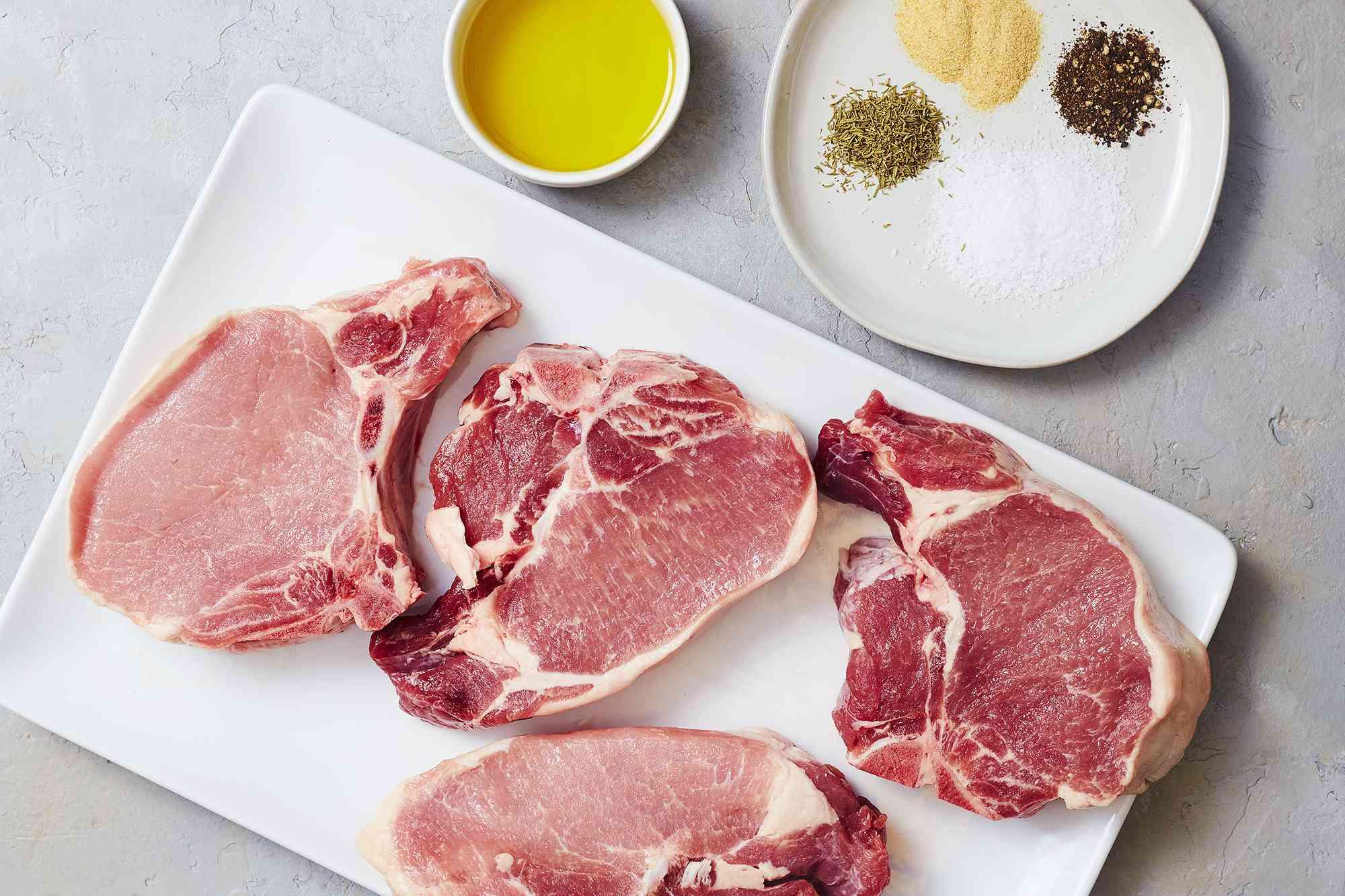 Ingredients for oven-roasted pork chops