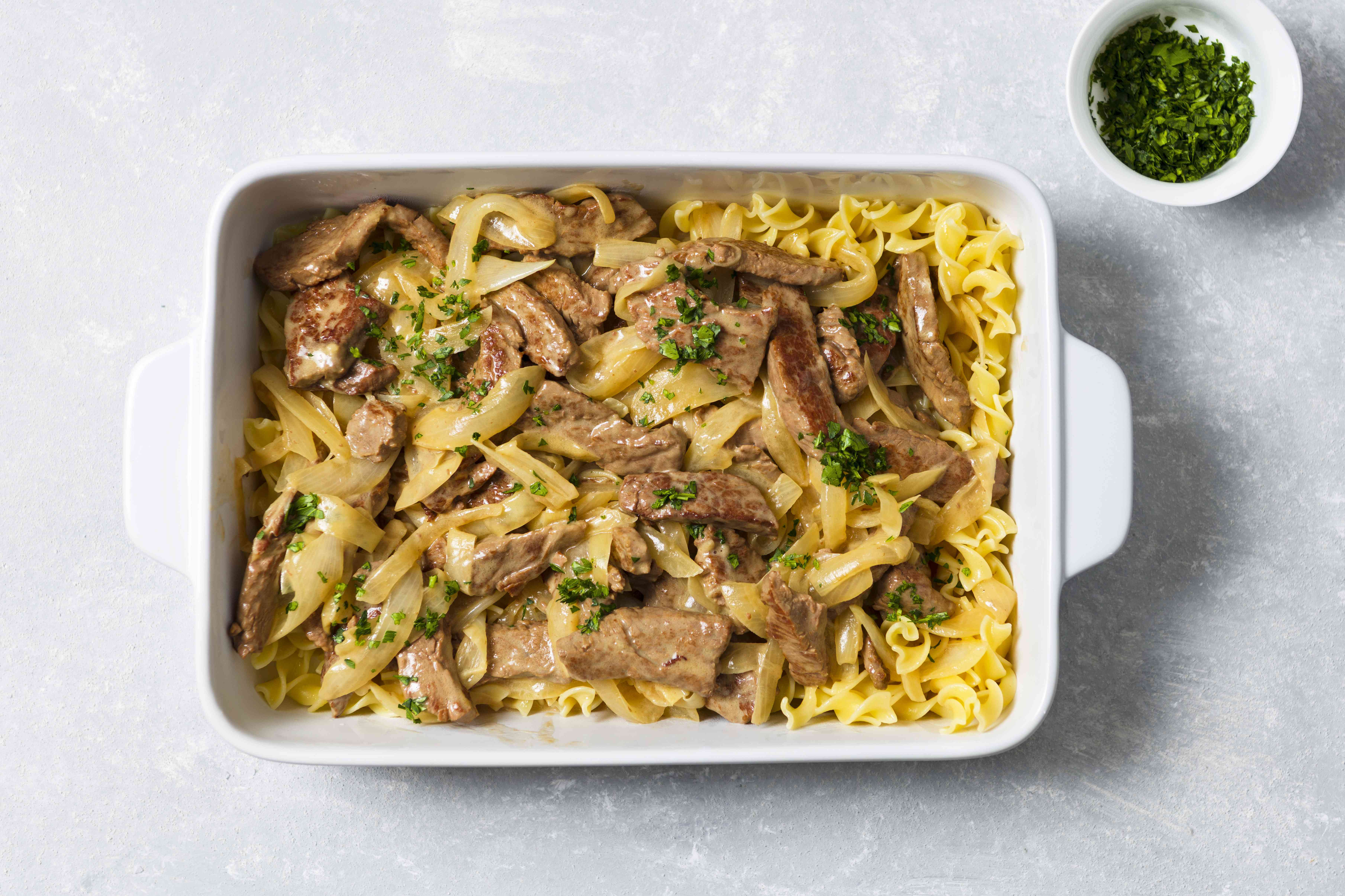 Classic beef stroganoff in a baking dish