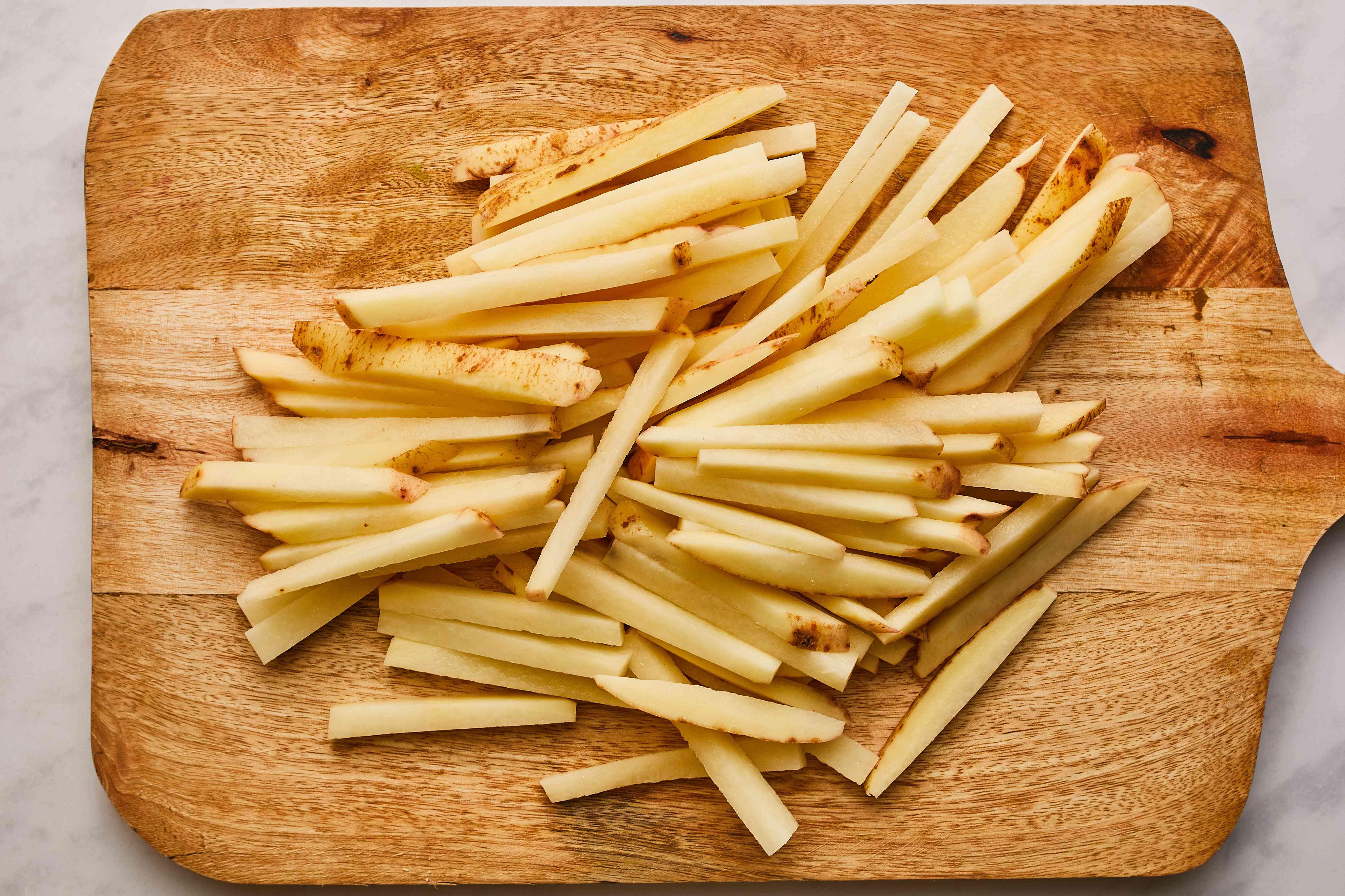 Potatoes cut for fries