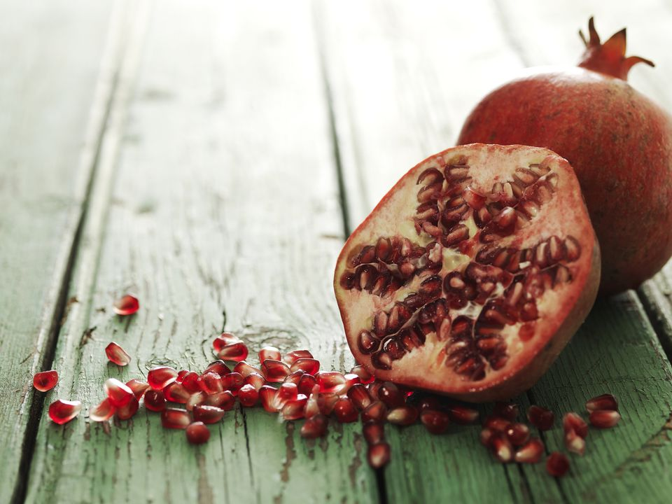 A halved pomegranate