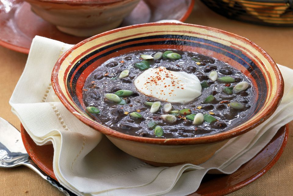 Spicy Black Bean Soup With Ham and Garlic