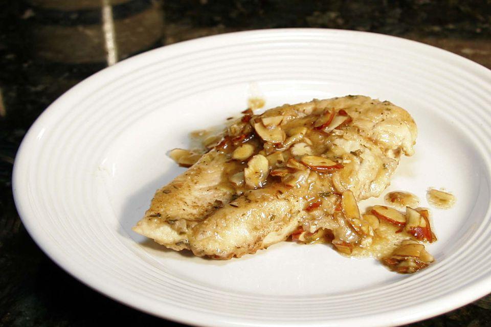skillet chicken with almonds - chicken almondine