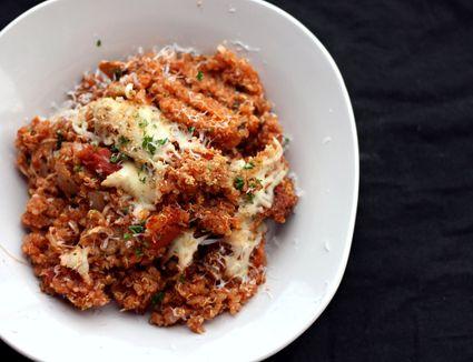 Quinoa in marinara with fresh Parmesan cheese