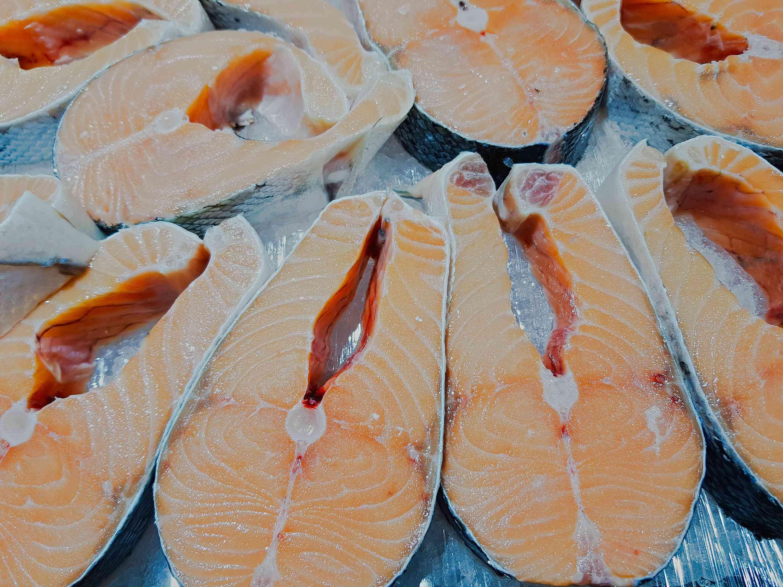 Fresh salmon steaks