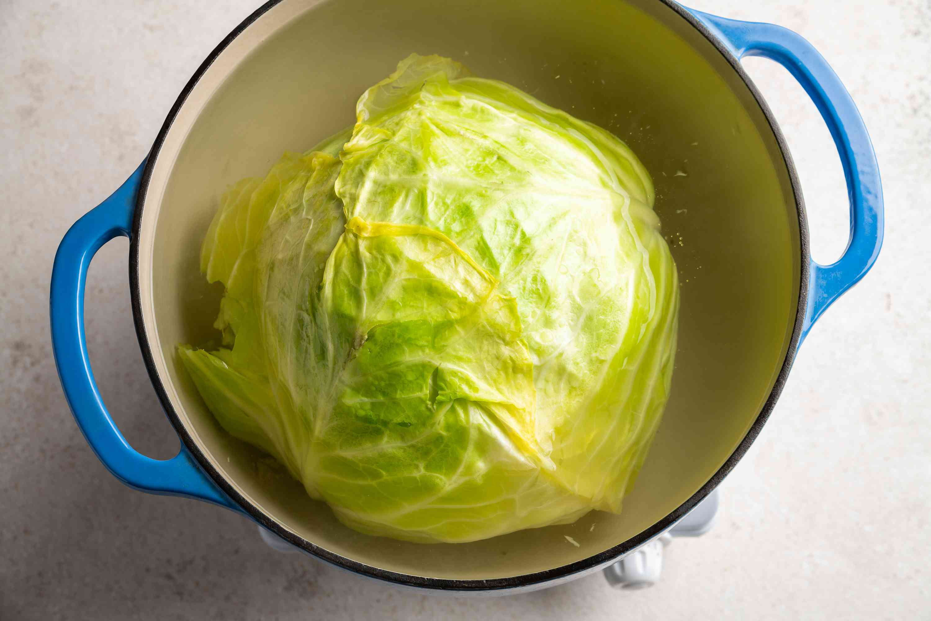 cabbage in a pot with water