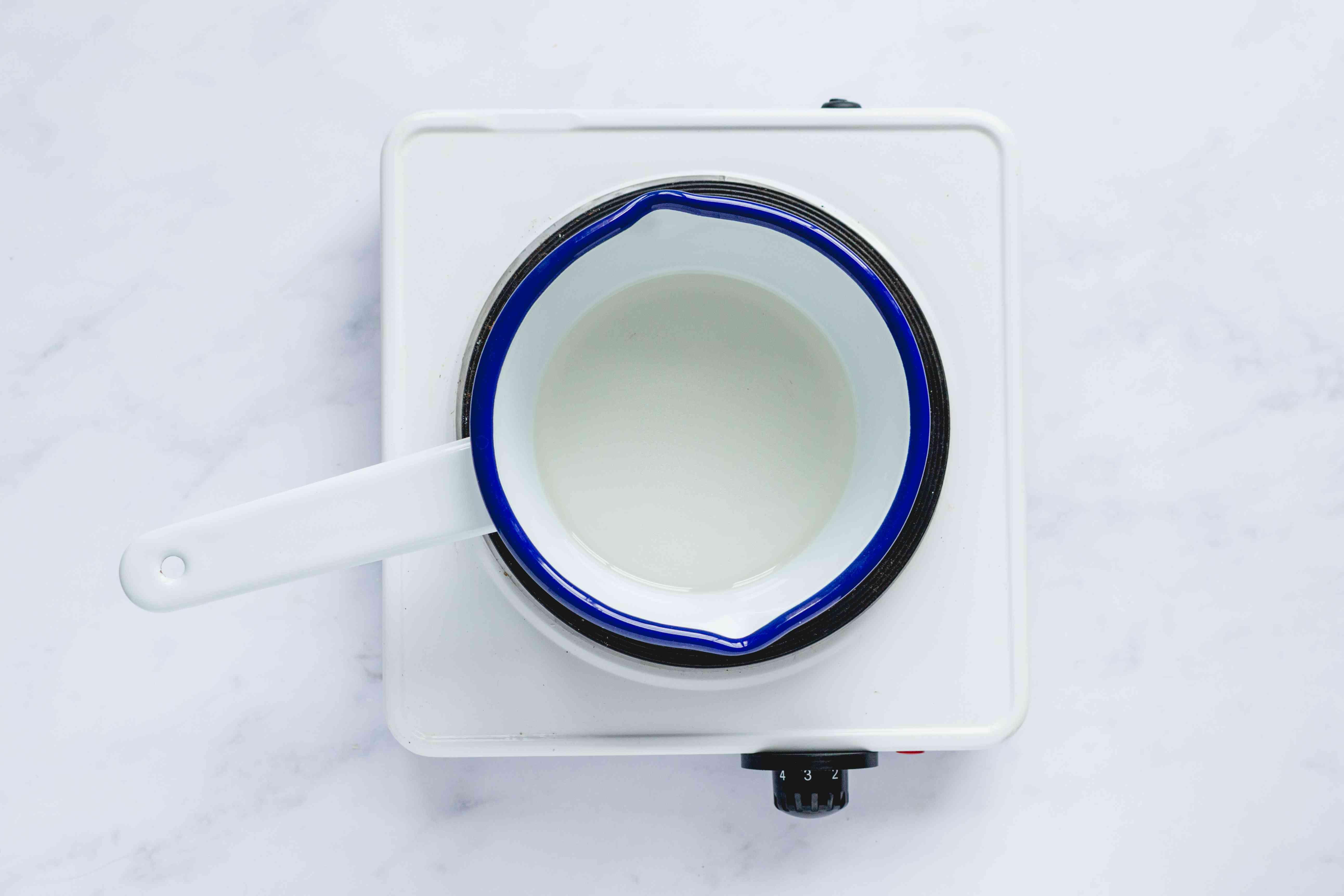 sugar and water in a saucepan