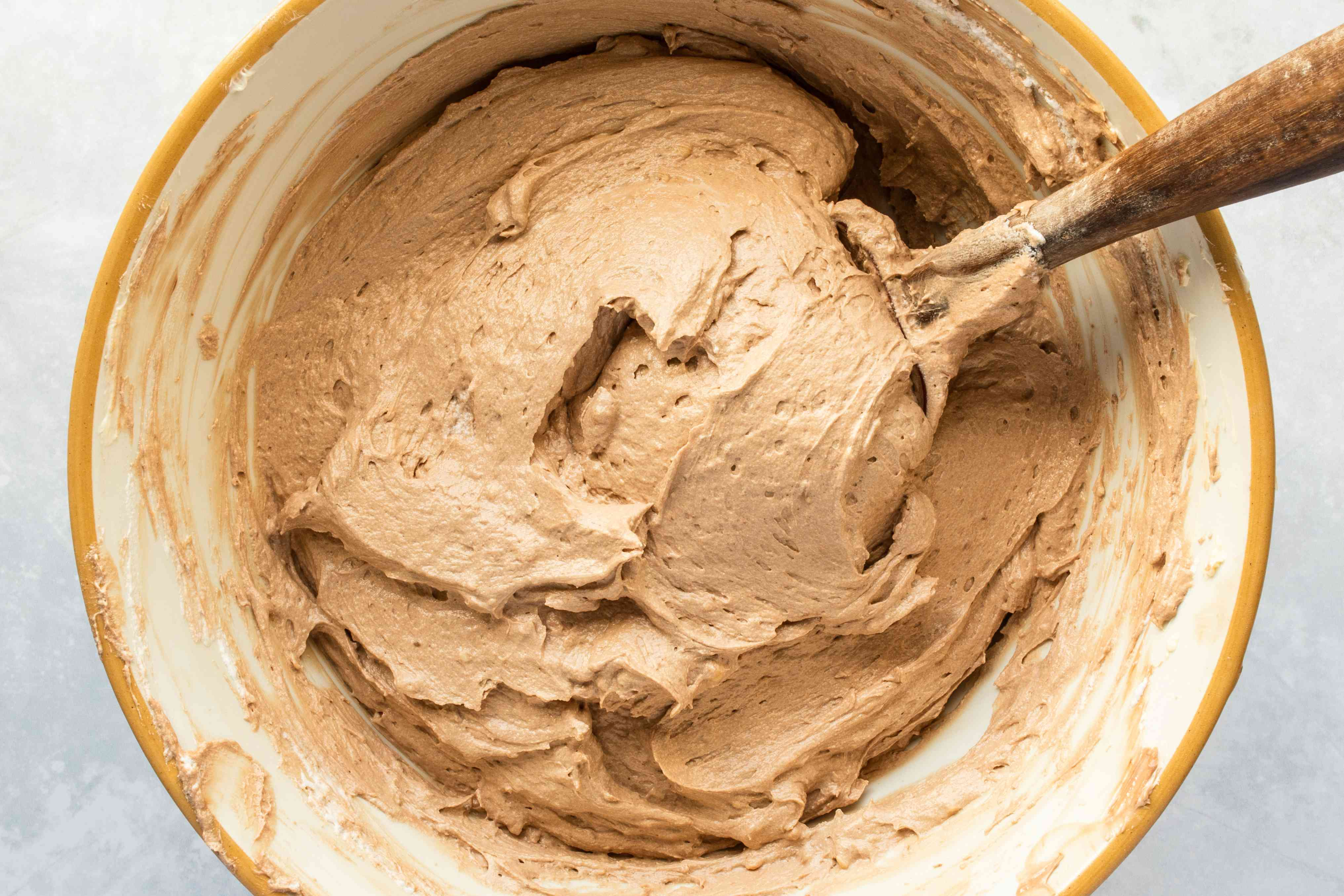 Chocolate buttercream in a bowl