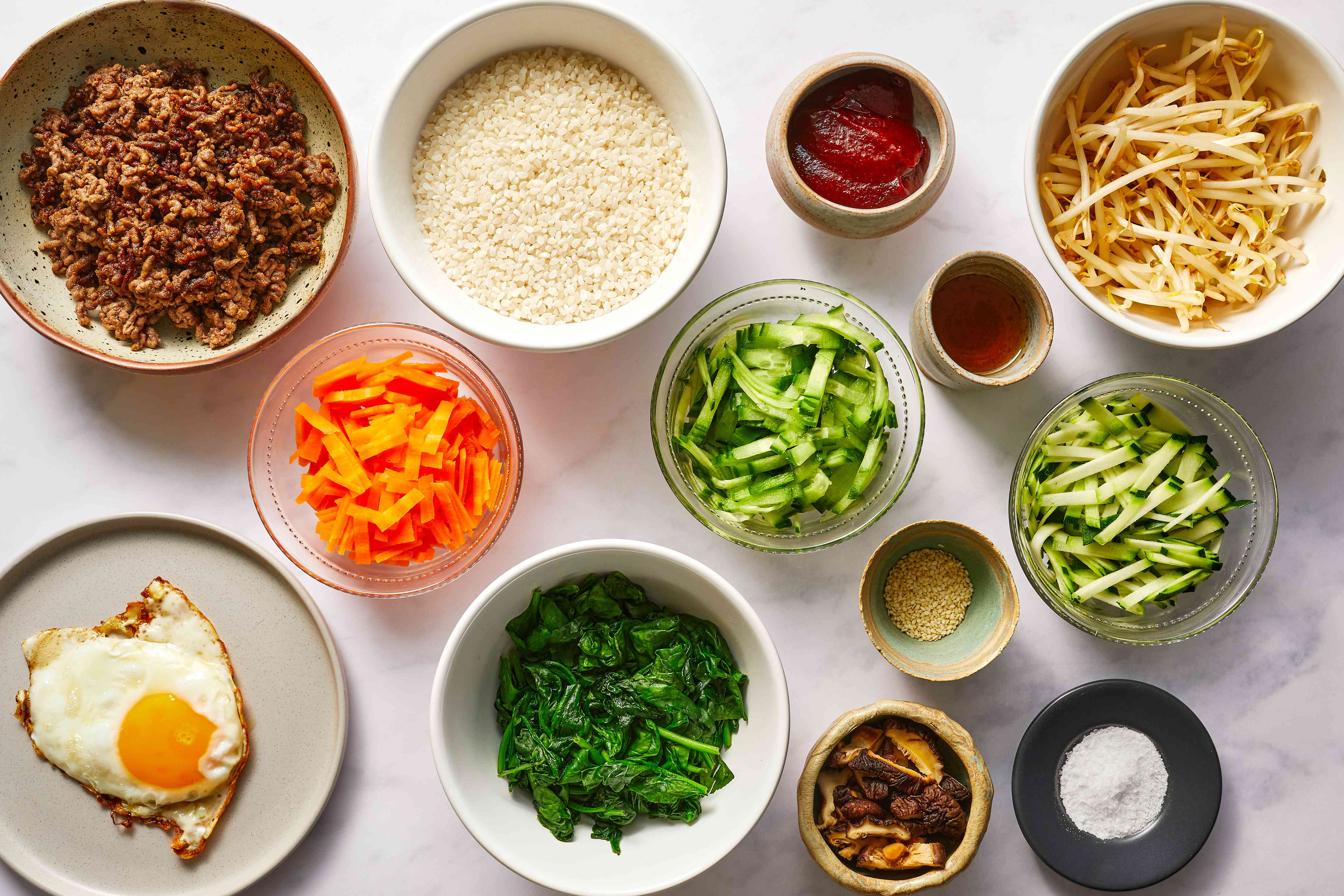 Classic Korean Bibimbap ingredients