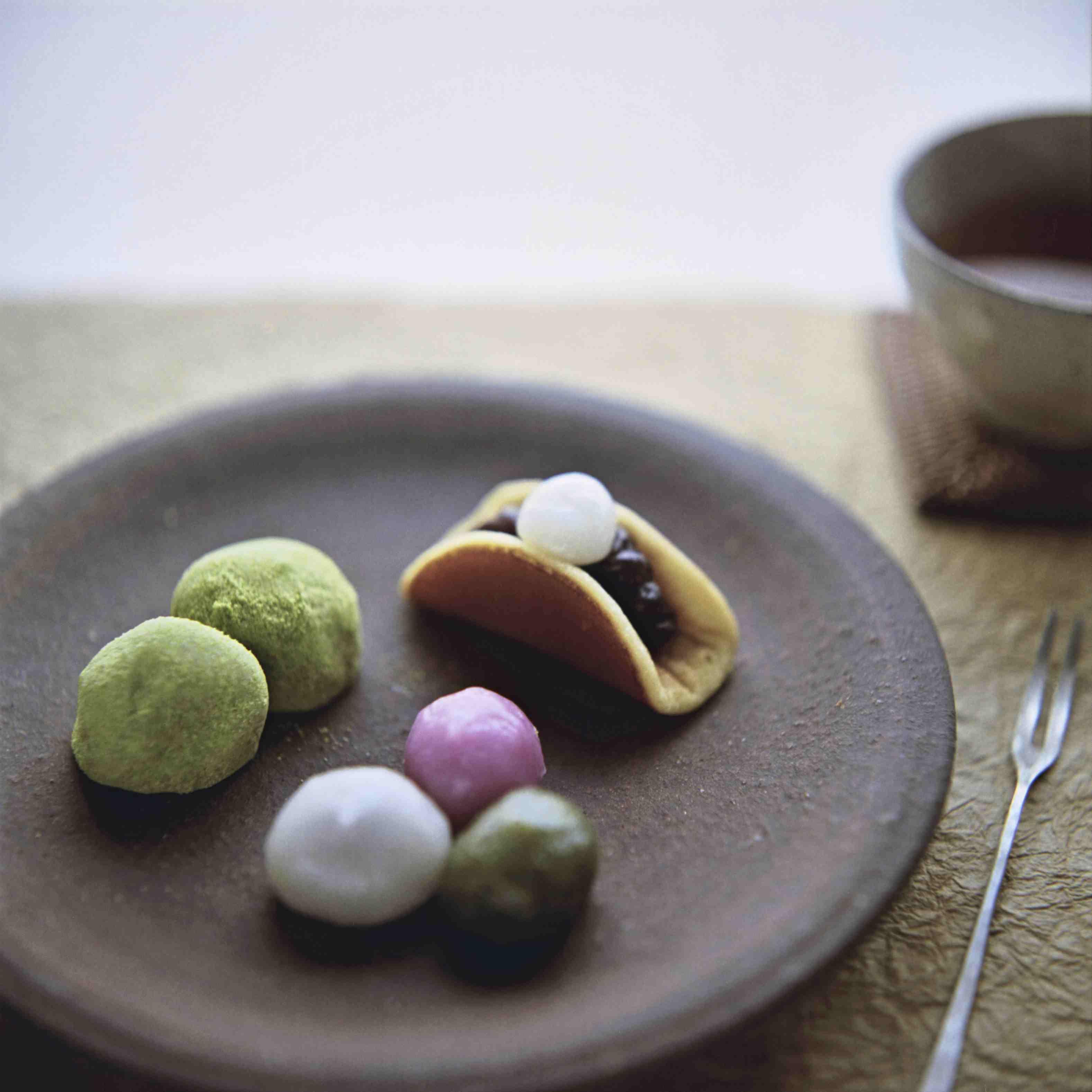 Plate of multi-colored Sakura Mochi