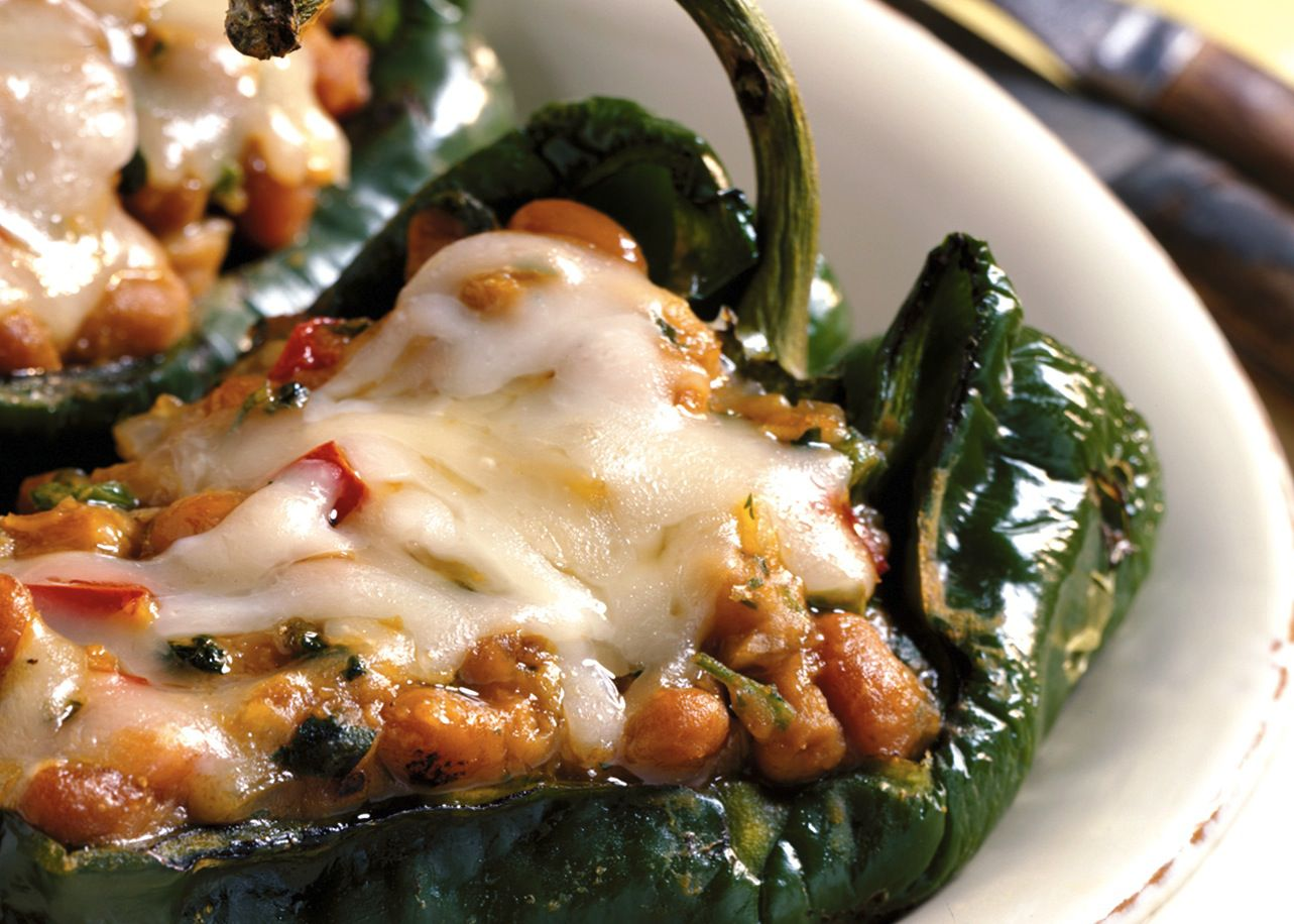 Grilled Stuffed Chili Rellenos or Green Bell Peppers