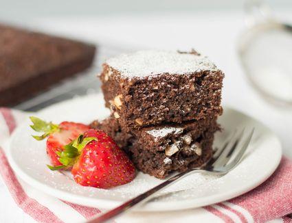 Chocolate brownies on plate