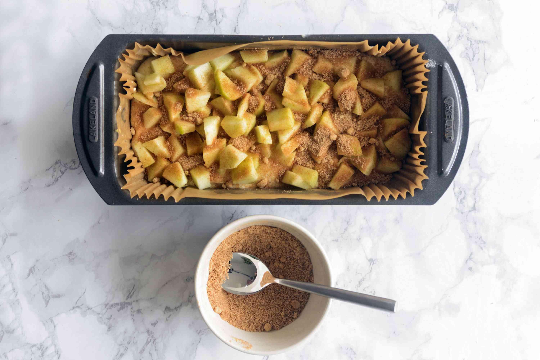 Apple fritter batter in load pan