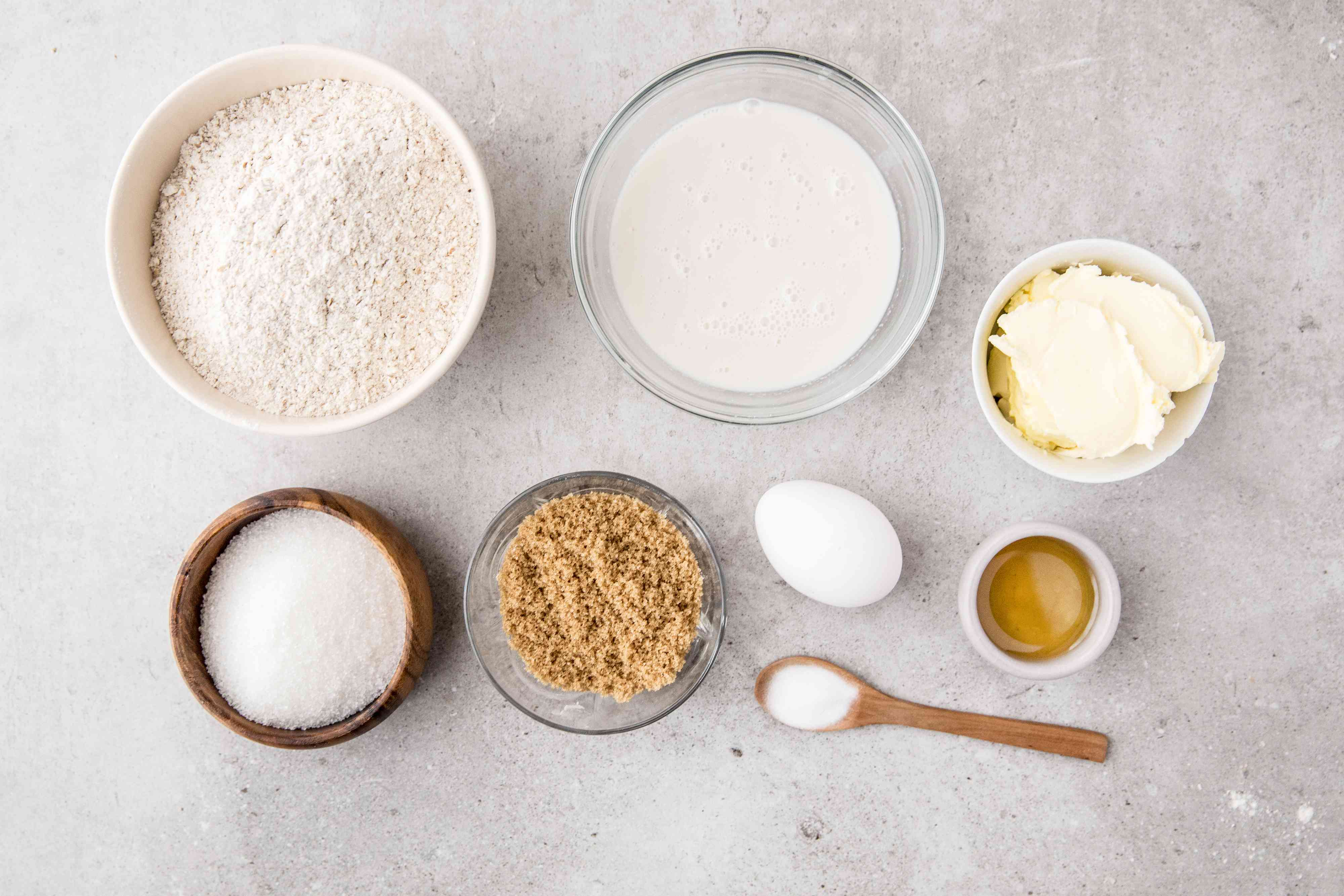 Ingredients for basic whole wheat muffins
