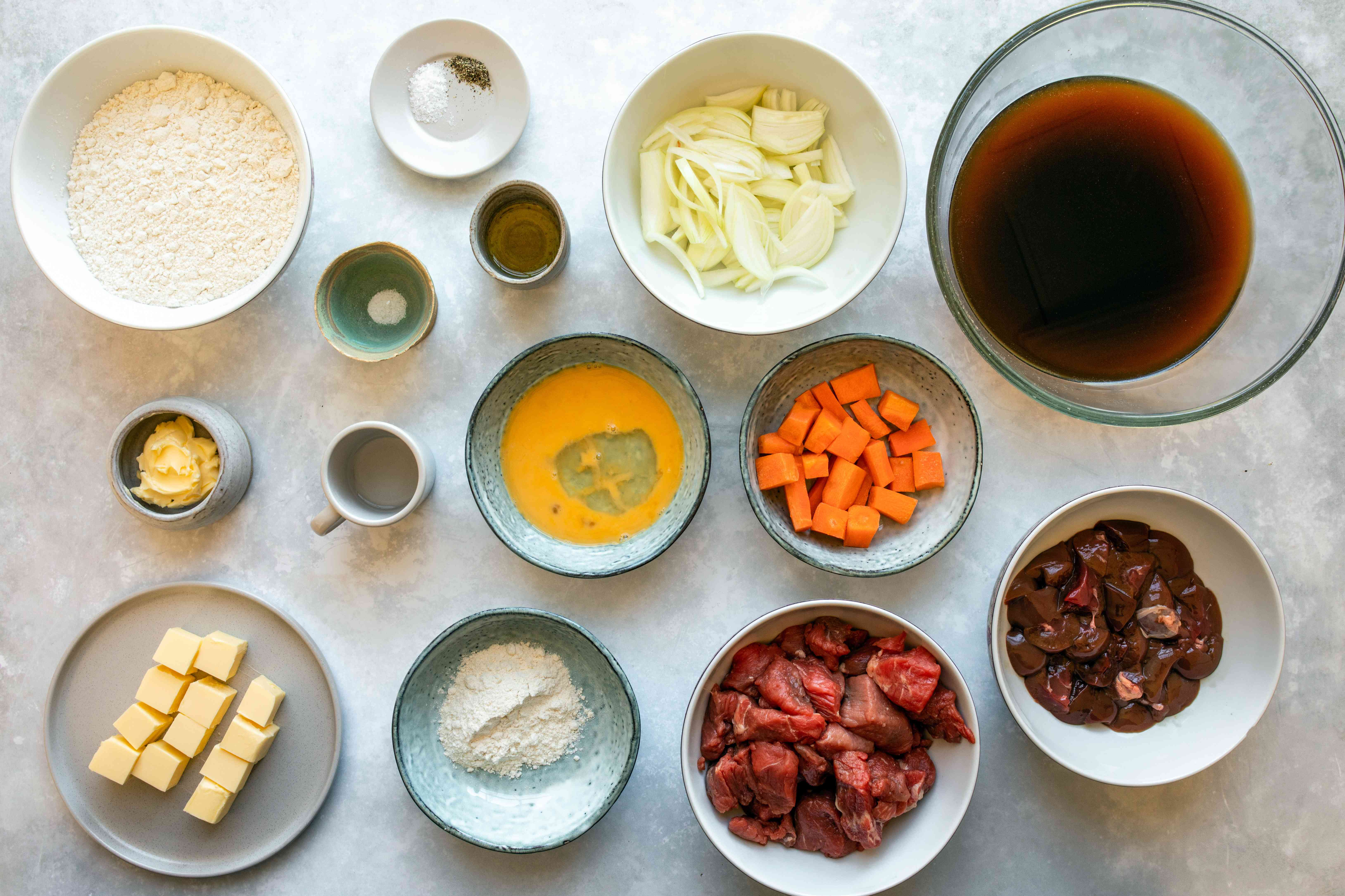 Ingredients for steak and kidney pie filling