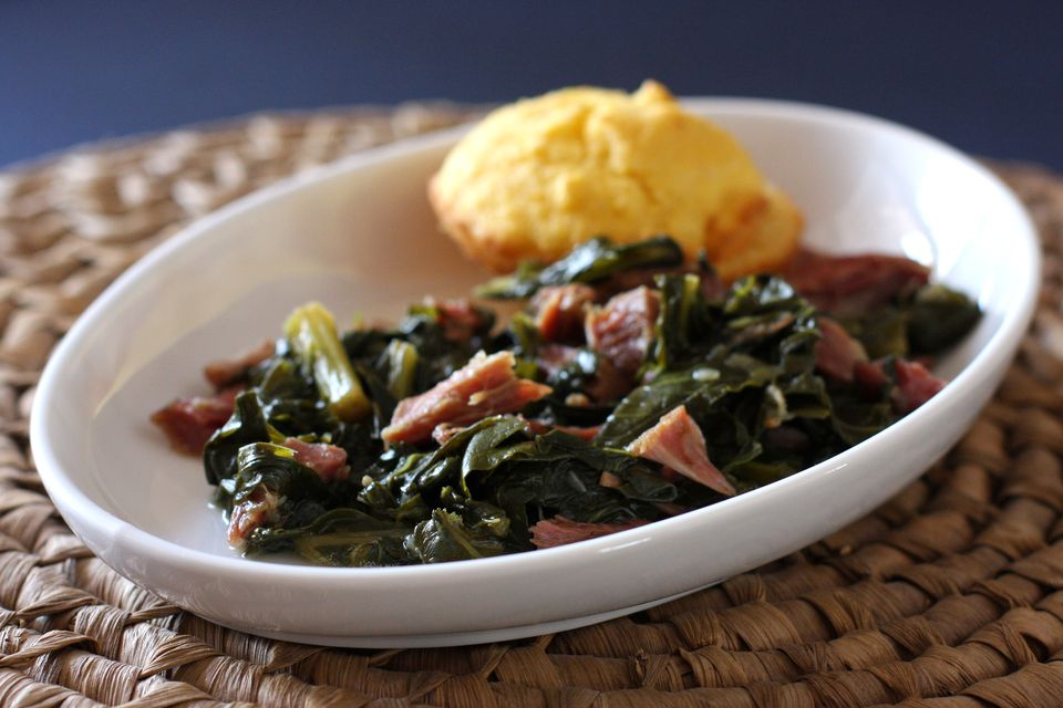 Turnip greens with ham shanks and cornbread muffins.