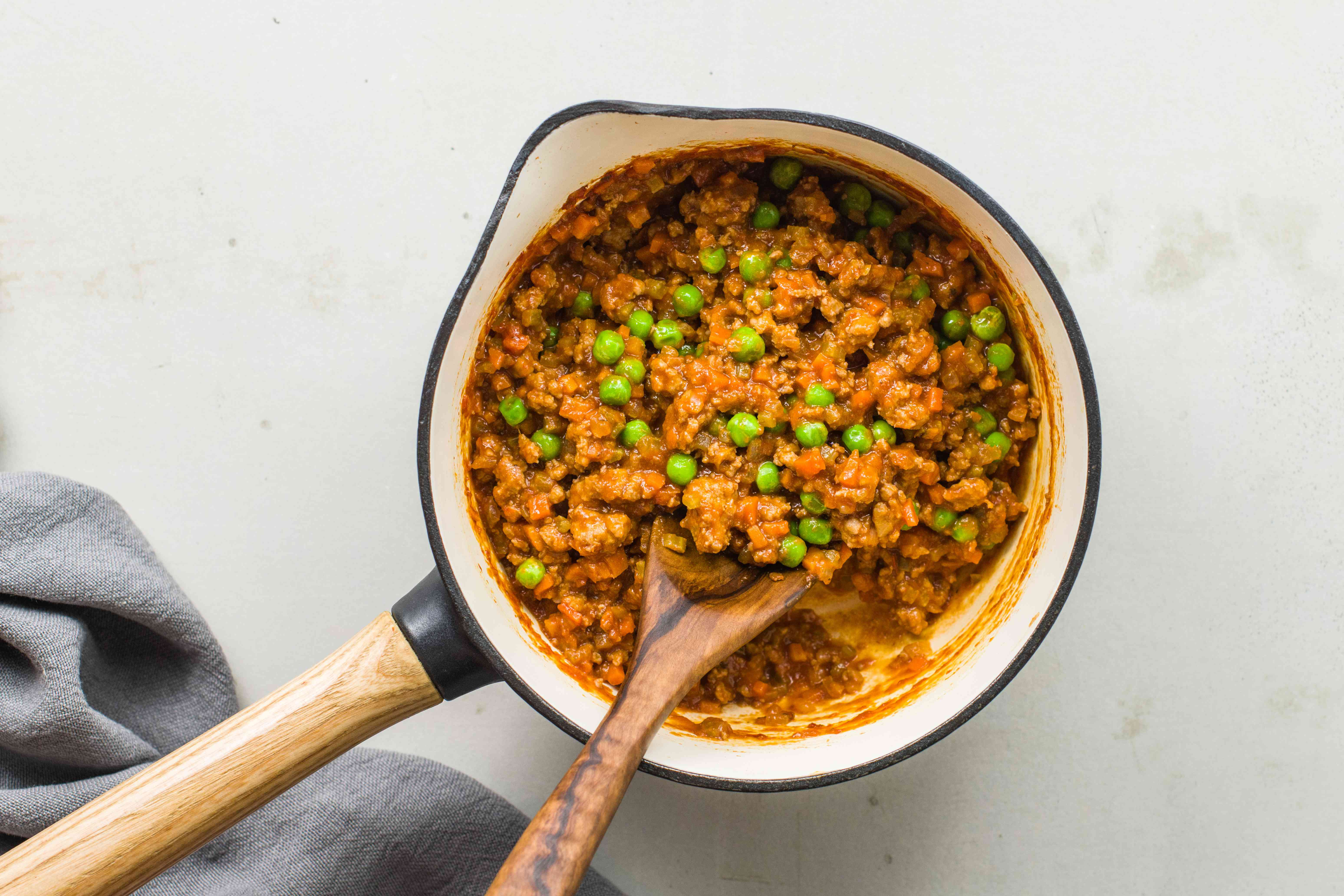 Add peas to the sauce