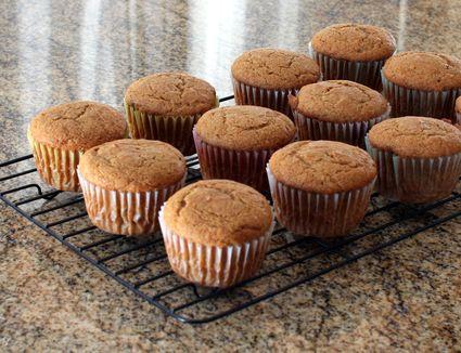 Peanut butter cupcakes on rack