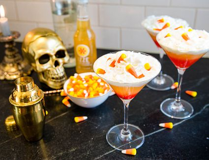 IZZE Sparkling Peach Candy Corn Cocktail with Whipped Cream Vodka