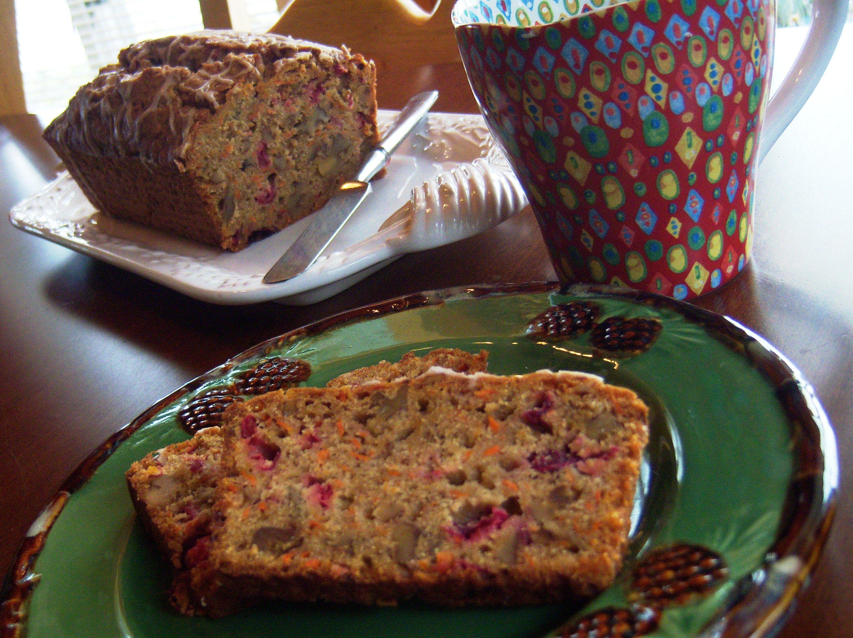 Gluten-Free Carrot Cranberry Walnut Quick Bread Recipe Image Teri Gruss