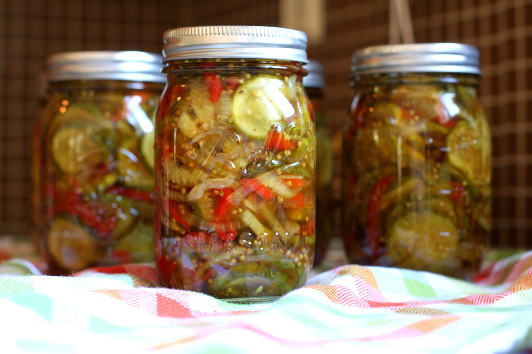Classic Bread and Butter Pickles With Red Bell Pepper