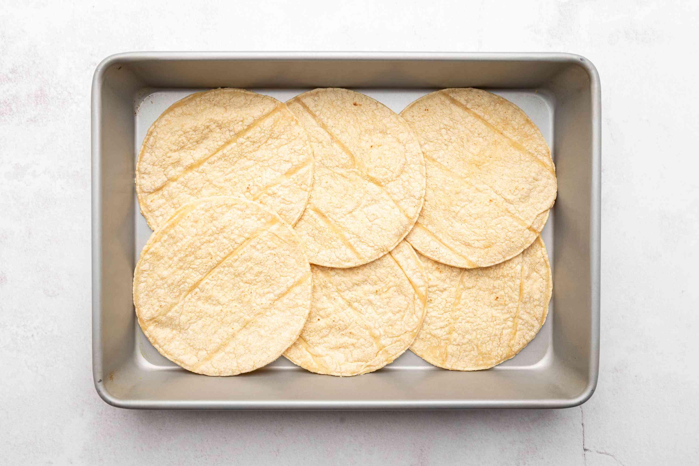 tortillas in a baking dish