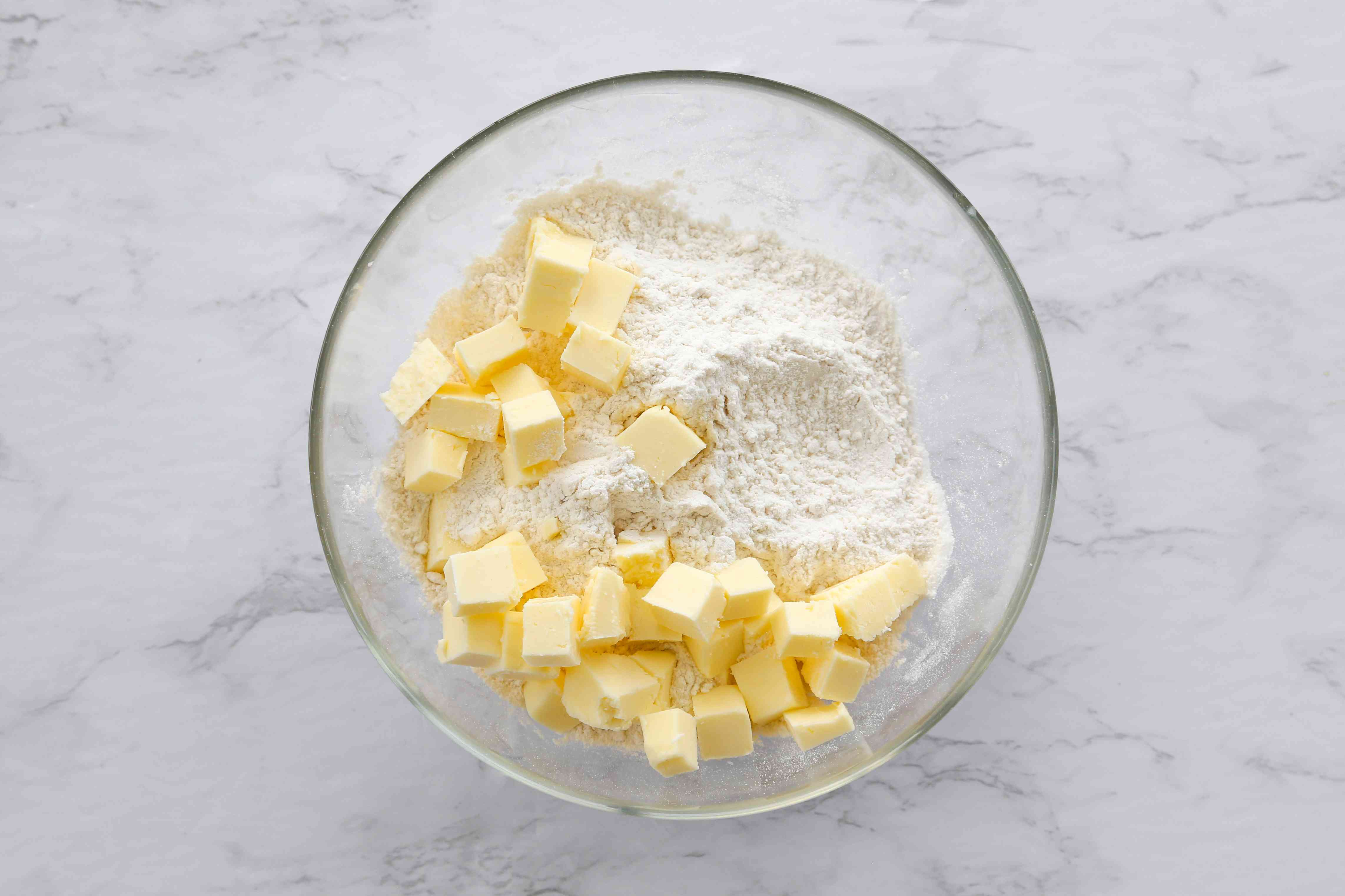 Flour, butter, and salt in a large, clean bowl