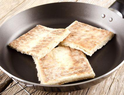 Fadge potato bread in pan