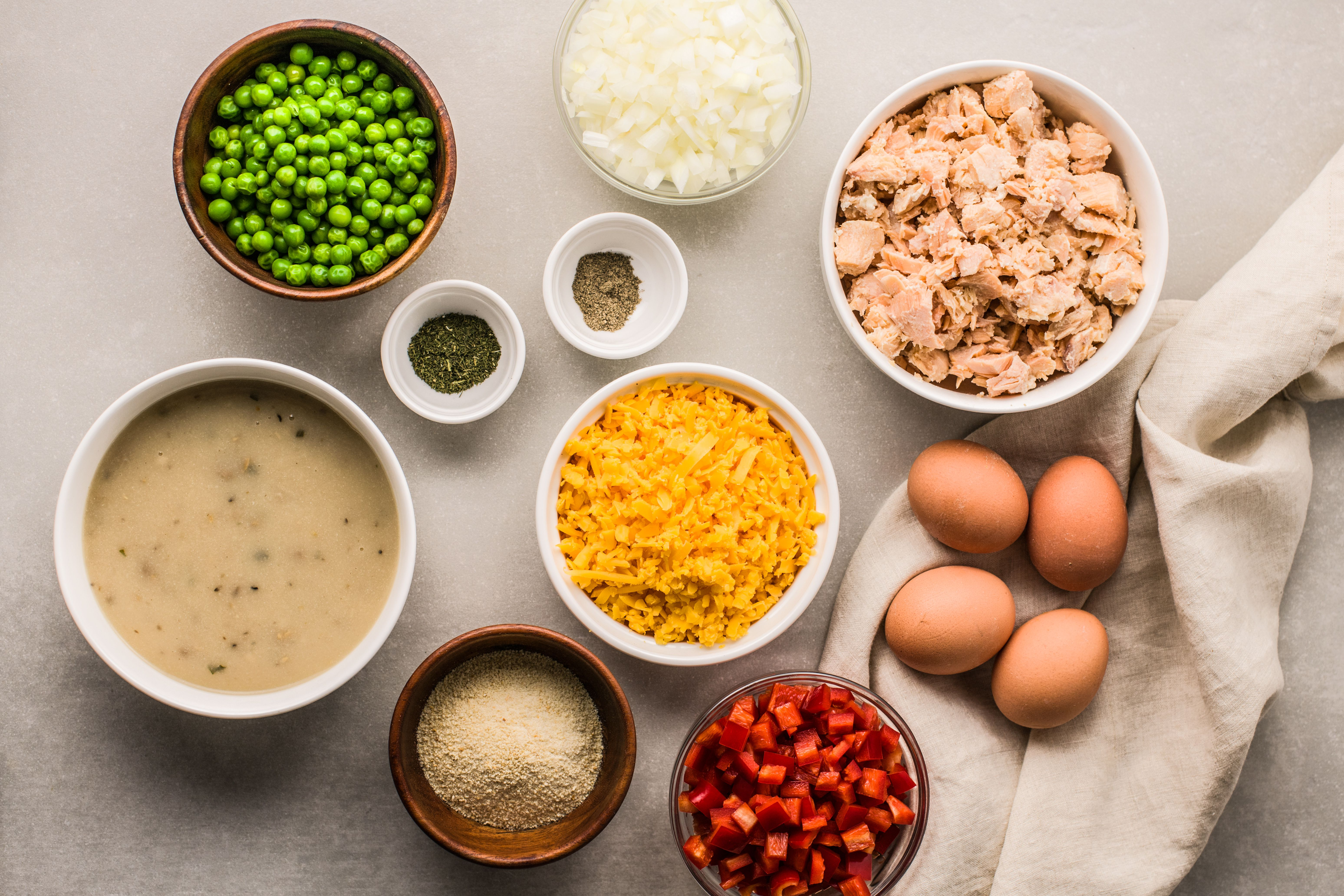 Ingredients for salmon casserole