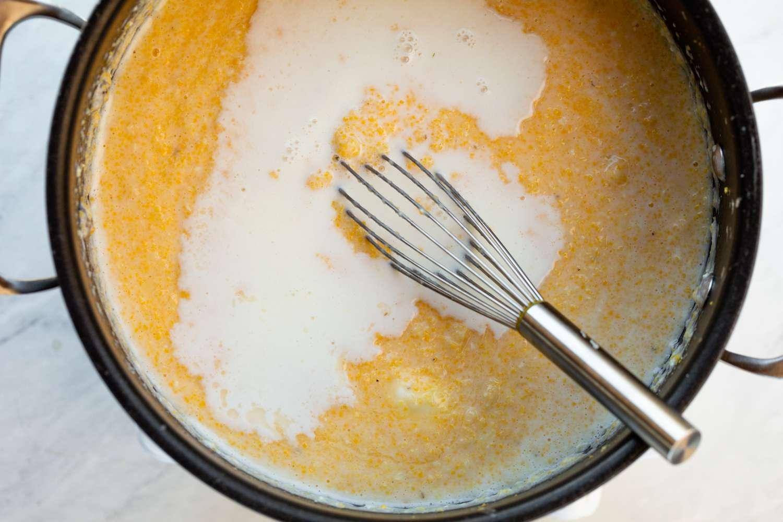 Add more liquid to the polenta