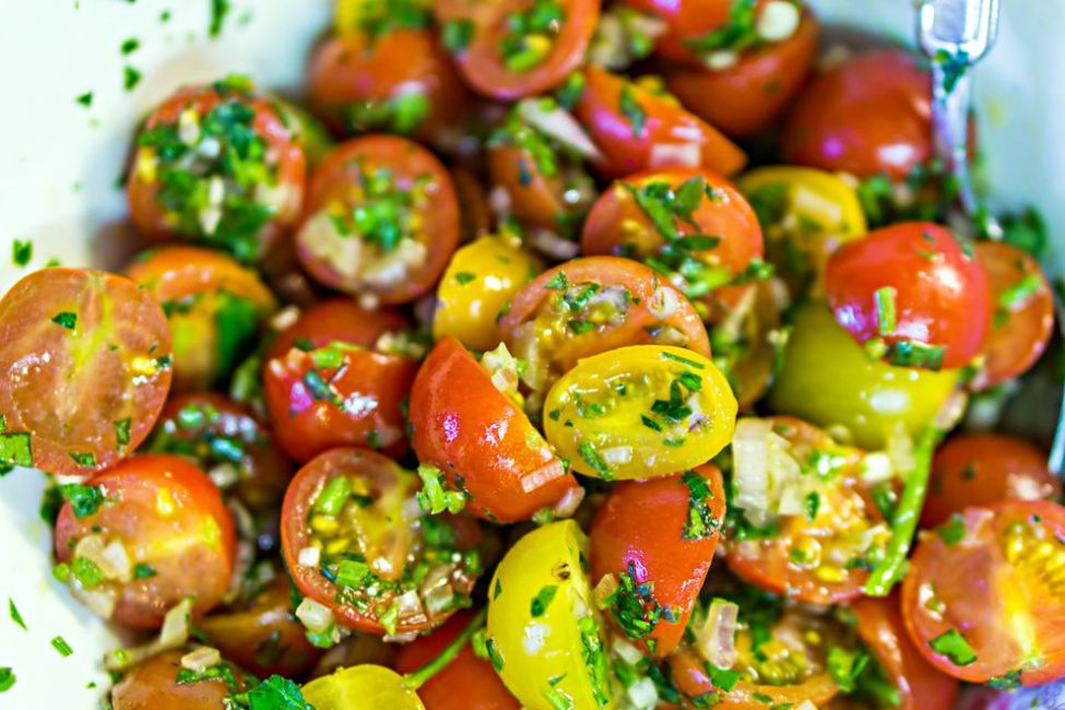 A bowl of balsamic tomato salad