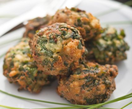 fried spinach balls with cheese