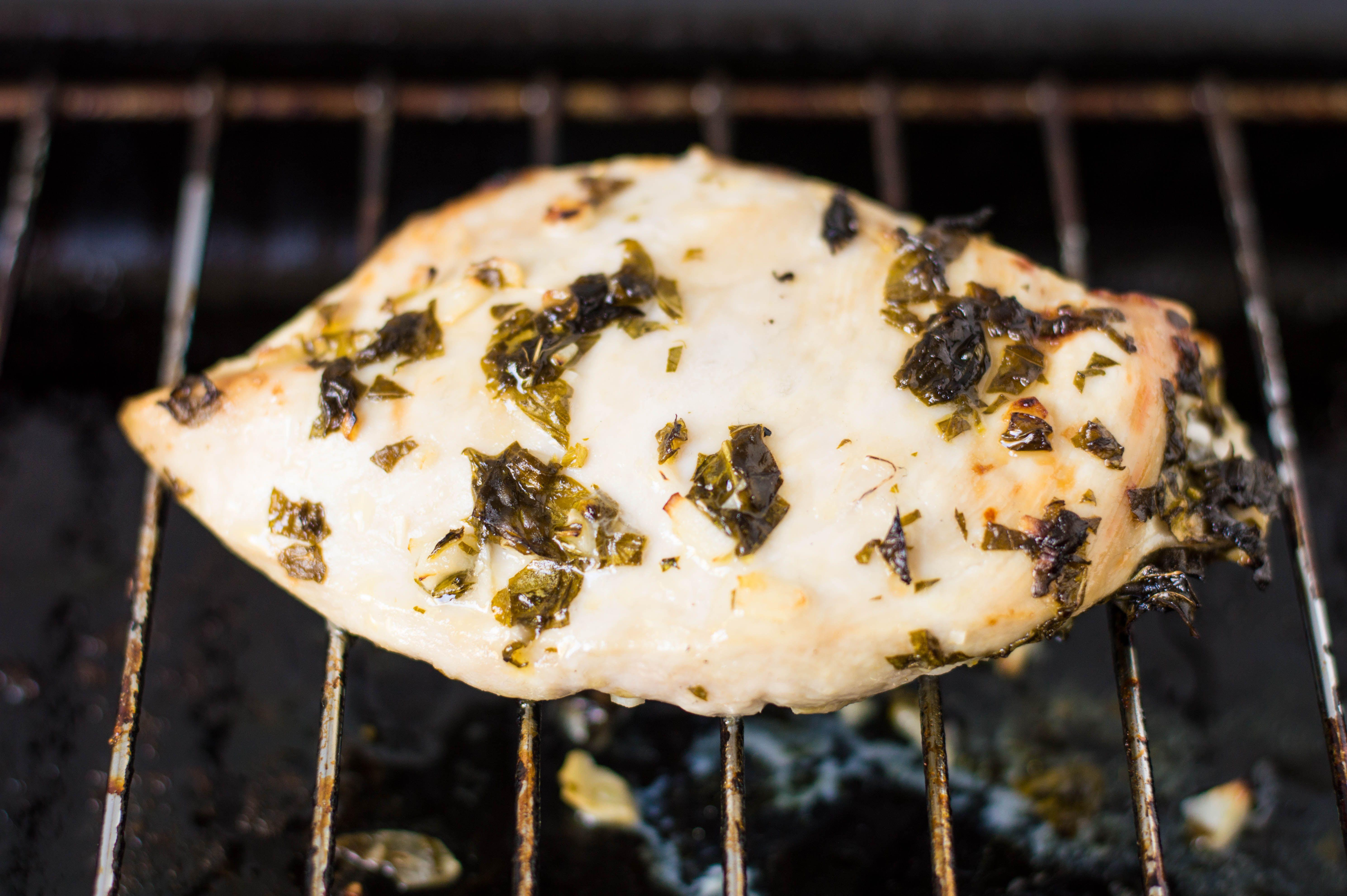 Grilled lemon basil chicken.