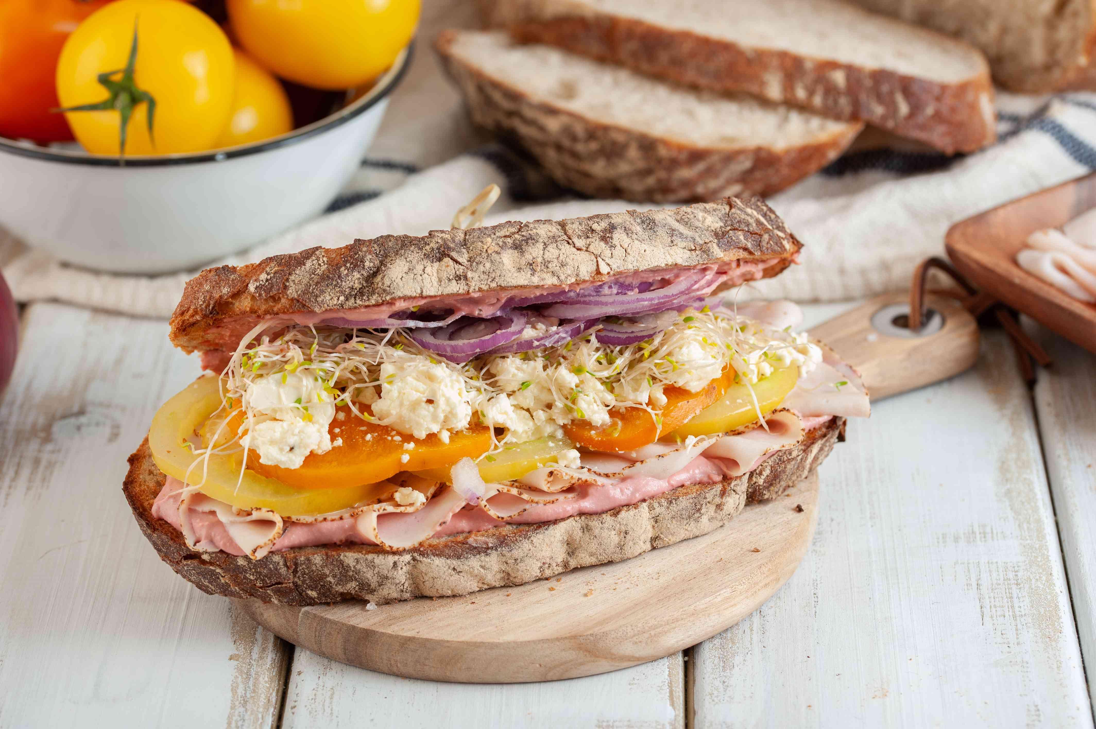 Turkey and hummus sandwich