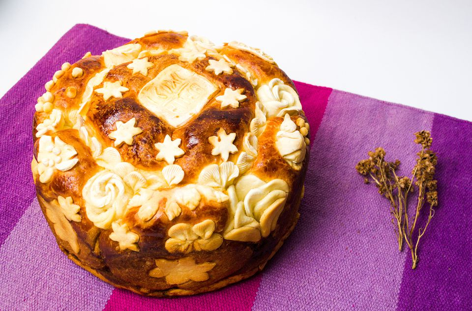 Serbian Slava Bread Decorated in Traditional Style