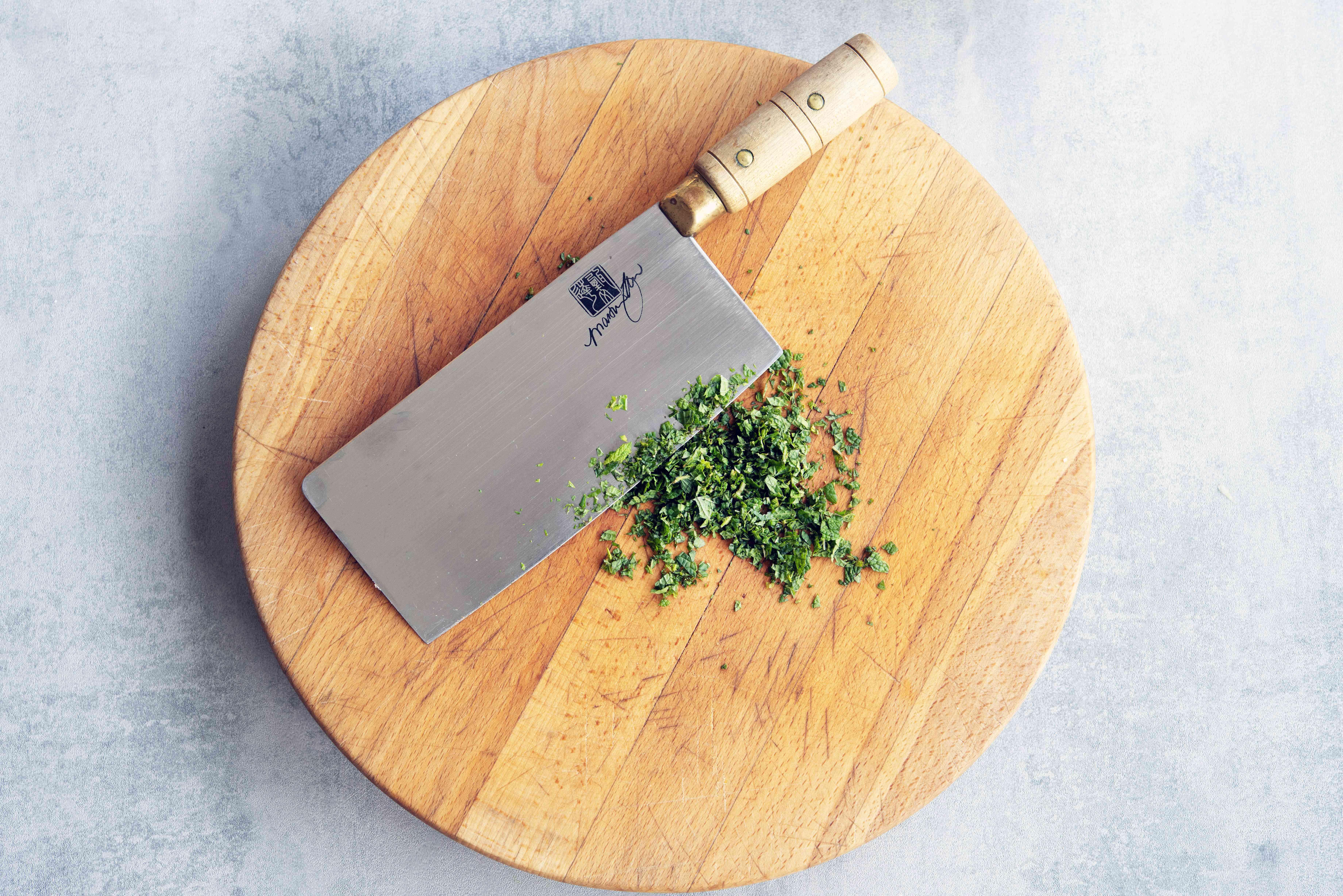 mint chopped on a cutting board