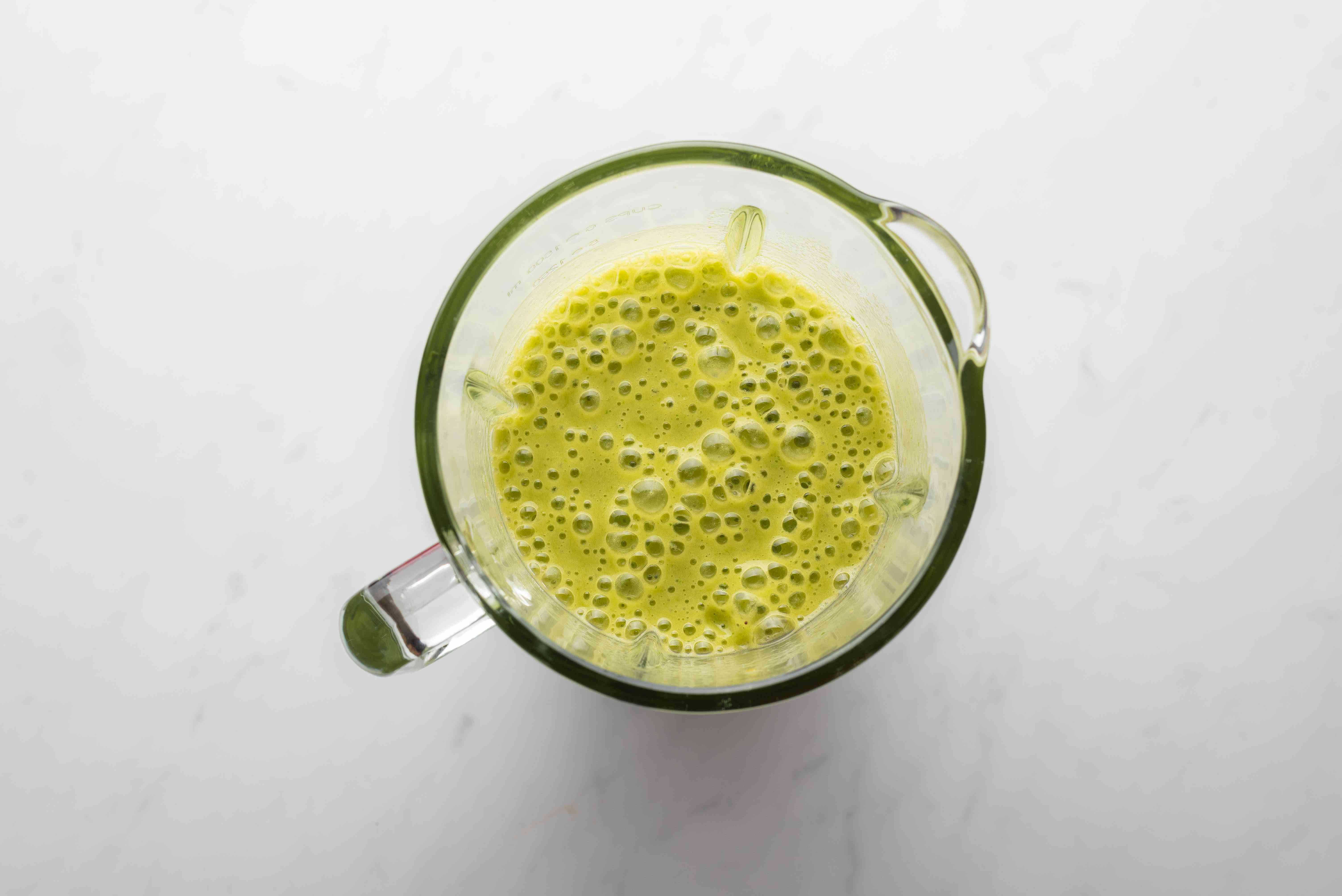 Mango Honey Green Smoothie in a blender