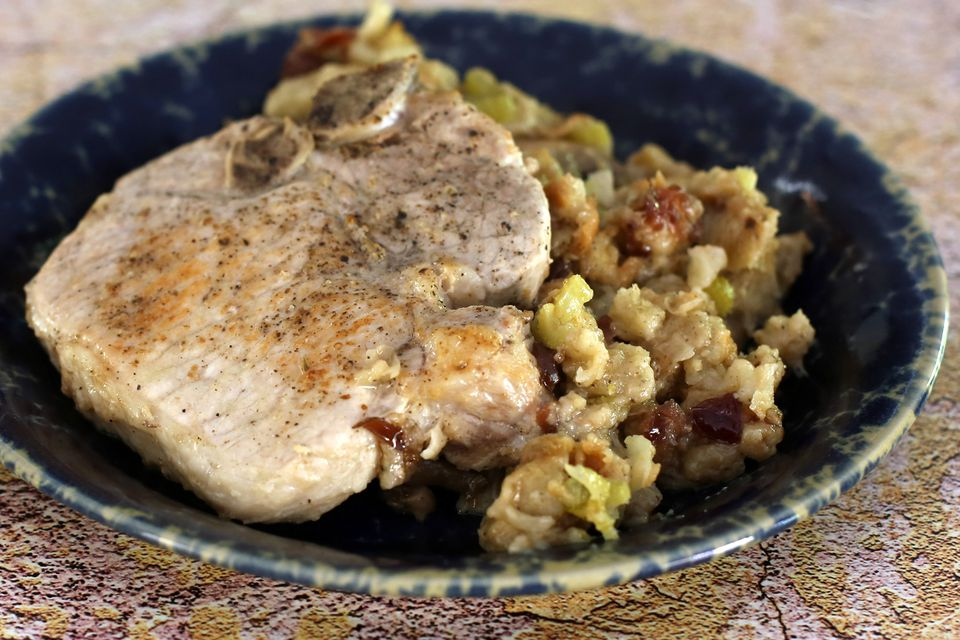 pork chops and stuffing