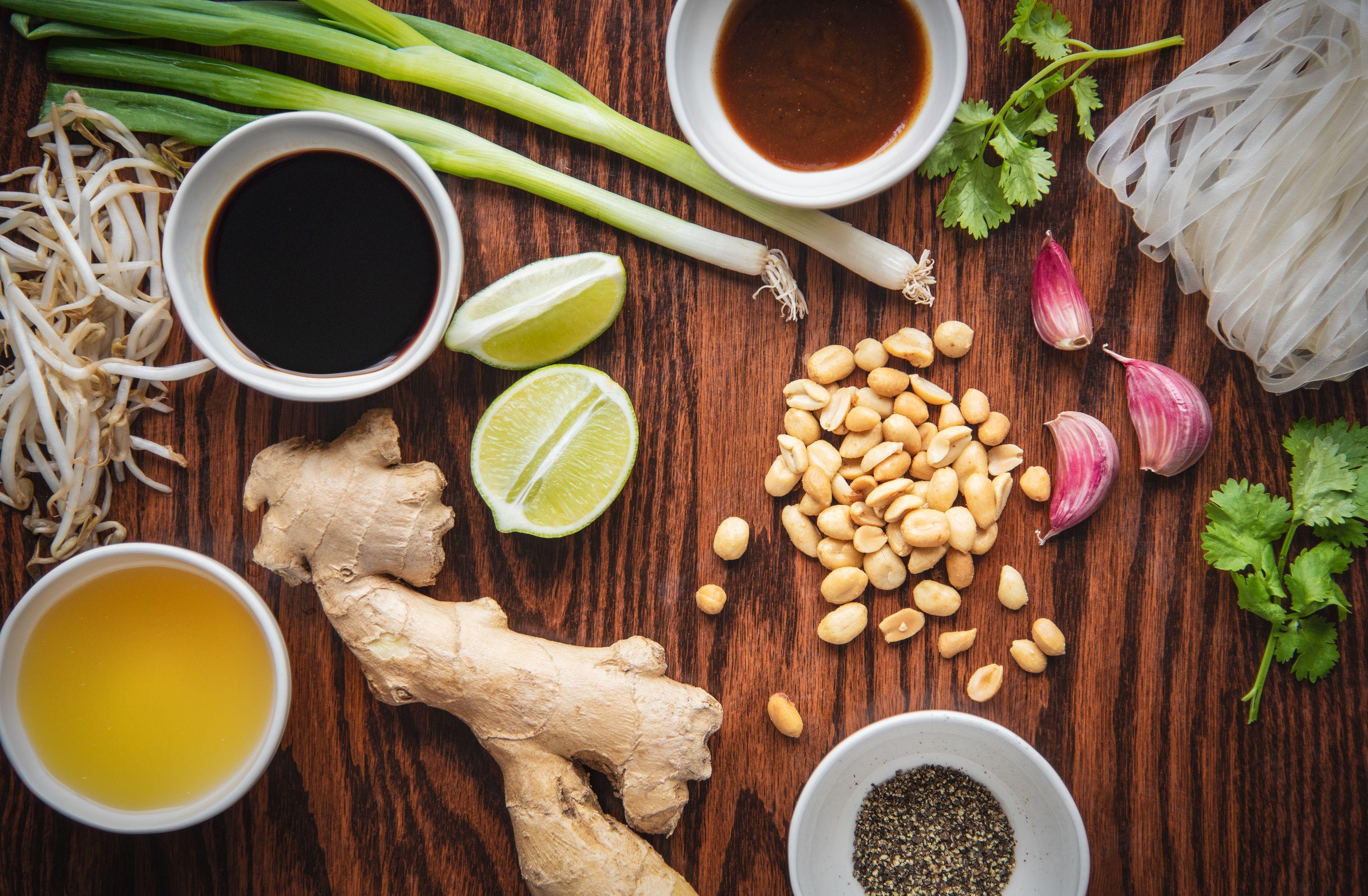Shrimp pad Thai ingredients