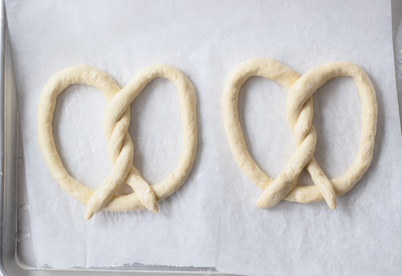 Auntie Anne pretzels on a parchment-lined baking sheet
