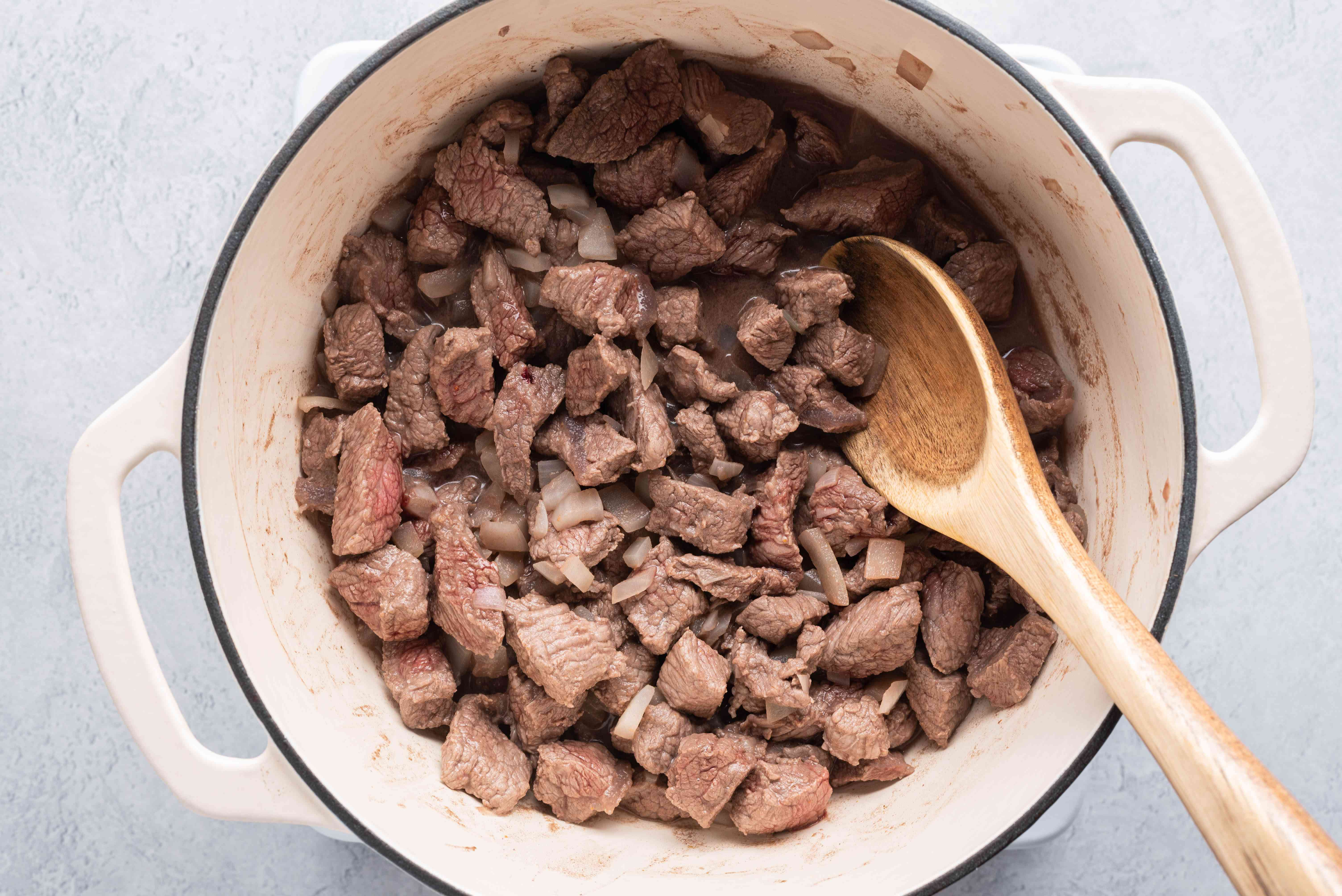 Beef mixture cooking in a pot