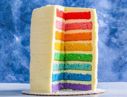 Vanilla layered rainbow cake