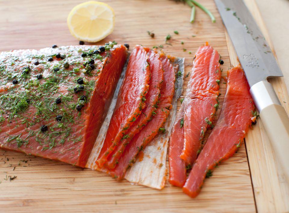 Dill-cured wild Alaskan sockeye salmon (gravlax)