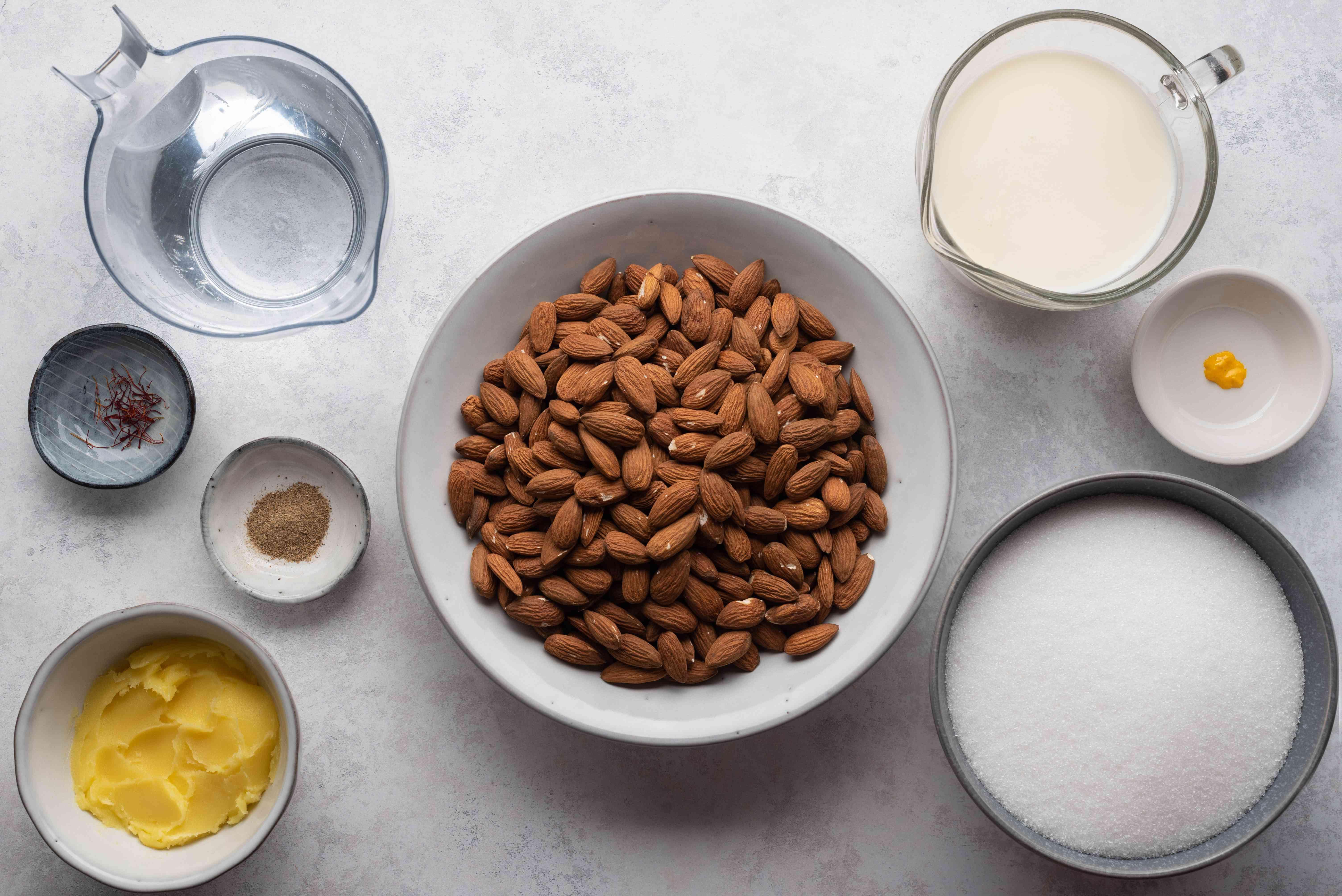 Ingredients for Badam Almond Halwa Indian Dessert