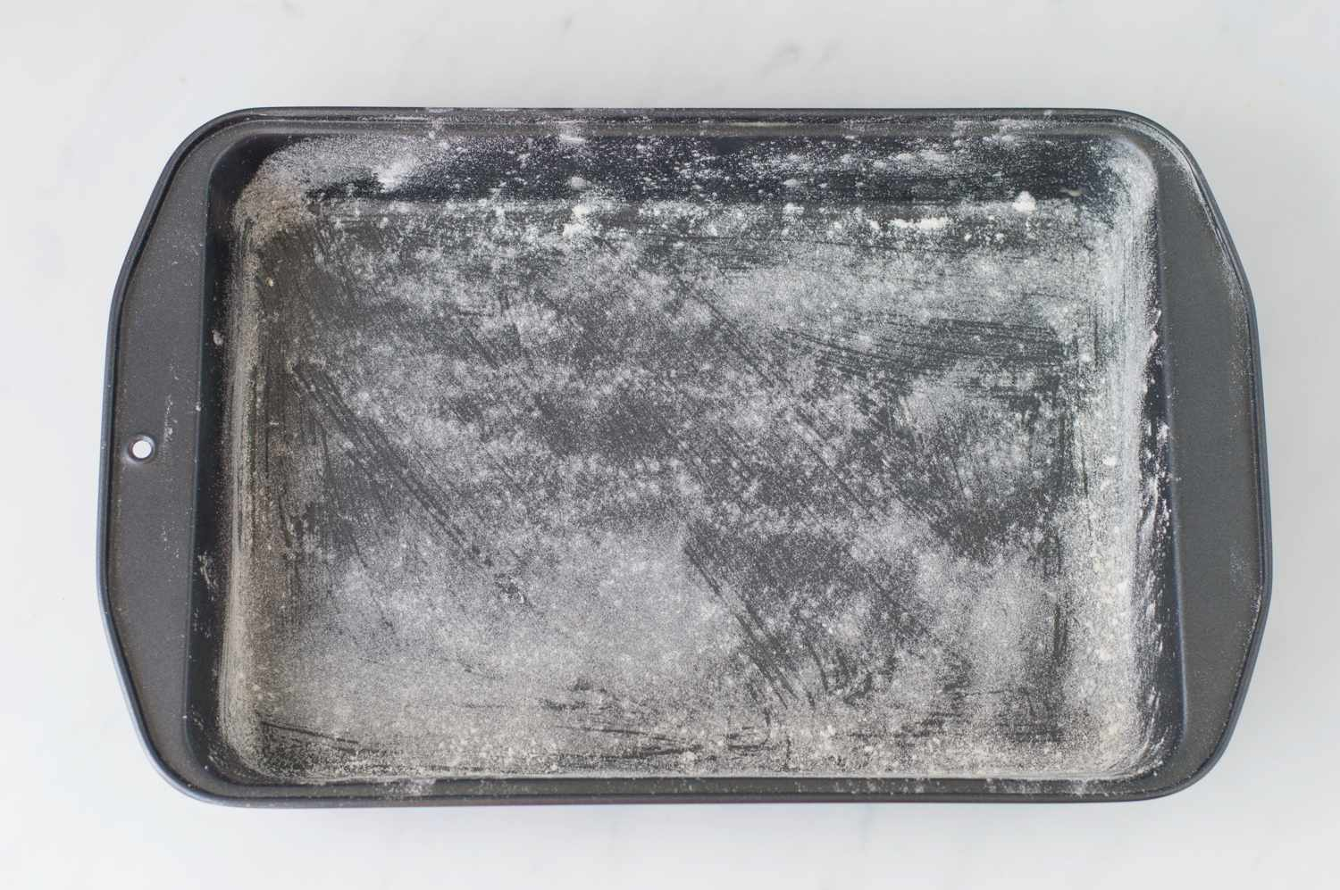 A 9 x 13-inch baking pan greased and floured