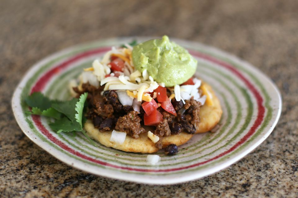Black bean chili on fry bread