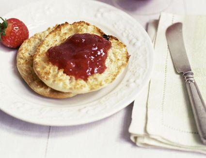 English muffin with strawberry jam