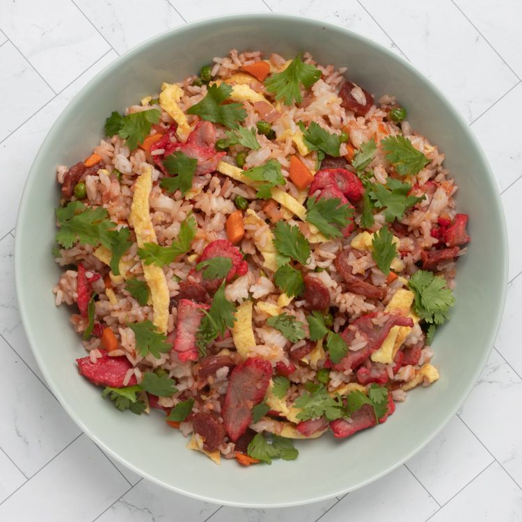 Vietnamese fried rice with lap cheong and bbq pork